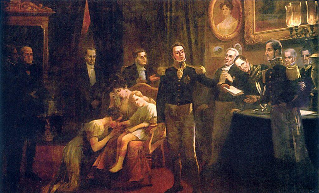 A abdicação do primeiro Imperador do Brasil, D. Pedro I.