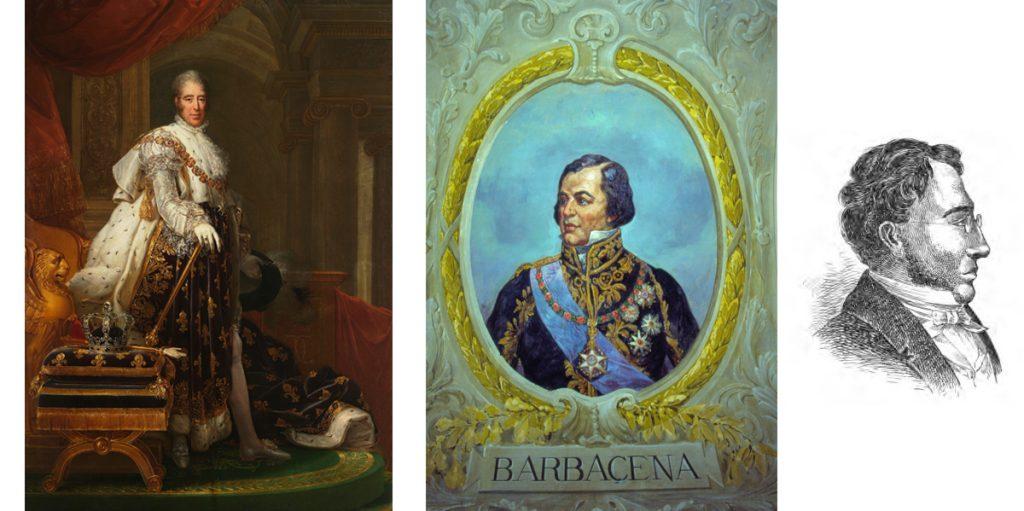 À Esquerda: Carlos X da França. Ao Centro: Retrato de Felisberto Caldeira Brandt (Marquês de Barbacena), À direita: Líbero Badaró por Tancredo do Amaral