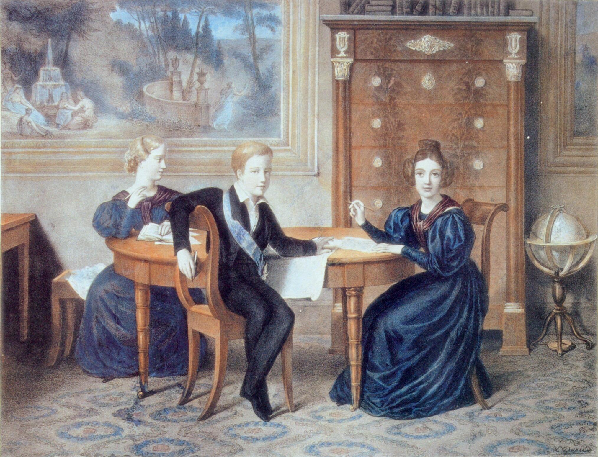 Francisca, Pedro e Januária de luto pela morte do pai c. 1835 por Félix Émile Taunay, no Museu Imperial.