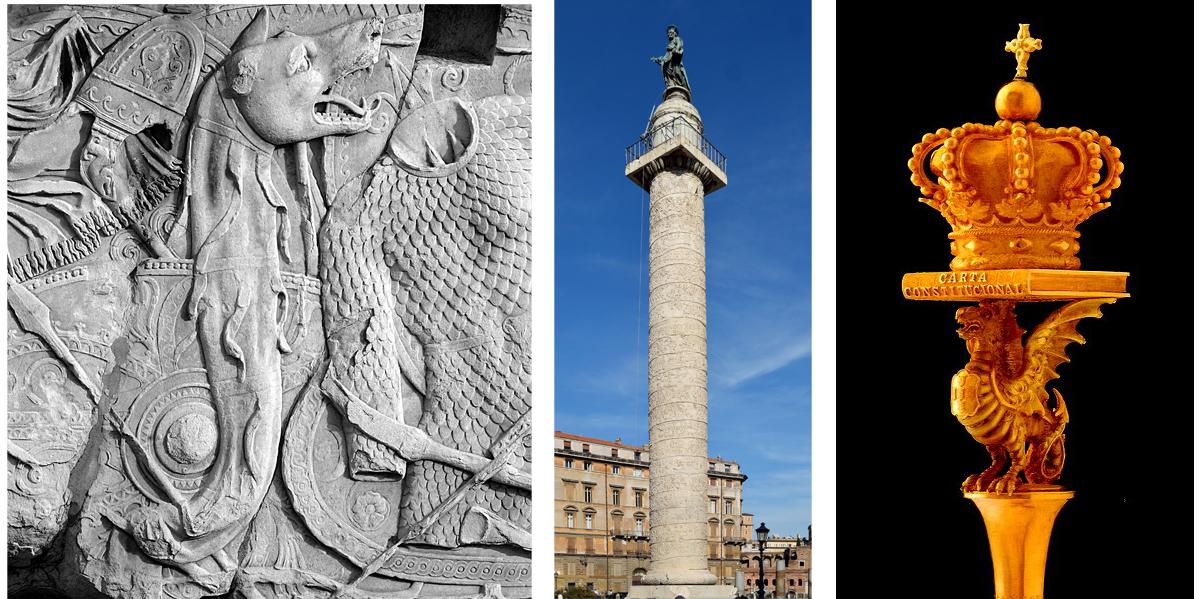 Serpe de Dácia, Coluna de Trajano e Serpe da Carta Constitucional